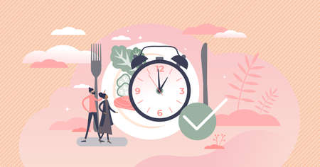 Eating time as daily food balance and routine clock tiny persons concept. Hunger in constant period of day as healthy habit for digestive system vector illustration. Symbolic watch with lunch plate. Vectores