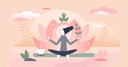 Holistic healing self treatment with peaceful mediation tiny person concept. Spiritual therapy for body and mind with harmony yoga vector illustration. Alternative medicine for wellness and health. Vectores