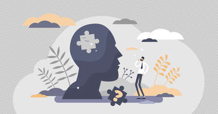 Memory loss as brain amnesia problem and thoughts forget tiny persons concept. Medical issue symbolic scene with missing puzzle piece in head vector illustration. Mental fogginess patient examination. Vectores