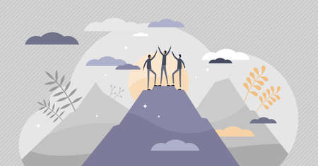 Success achievement and top goal fulfillment teamwork tiny persons concept. Abstract scene with peak top as business progress and target reaching symbol vector illustration. Work performance growth. Vectores
