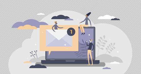 Email letter unread message with mailbox information tiny persons concept. Inbox digital communication service vector illustration. Web technology for global wireless marketing advertising and spam.
