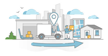 Delivery receiving process as transportation and shipping outline concept. Cargo boxes tracking with location app vector illustration. Courier with package truck as orders parcel distribution express. Vectores