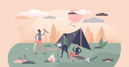 Bushcraft camping in outdoors with tent and fireplace tiny person concept. Adventure expedition in wild nature vector illustration. Simple outside accommodation equipment and primitive survival skills Vectores