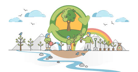 Reforestation as planting trees to protect green environment outline concept. Earth protection of global warming with plants growing and organic sustainable forest vector illustration. Clean air care.