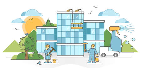 Window cleaning company with glass wall washing service outline concept. Building exterior brushing with water, sanitation spray or hygiene detergent vector illustration. Professional process team.
