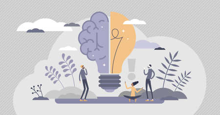 Creative brain with innovative knowledge thinking scene tiny persons concept. Brainstorming process with imagination and genius approach to business vector illustration. Smart symbol as light bulb. Vectores