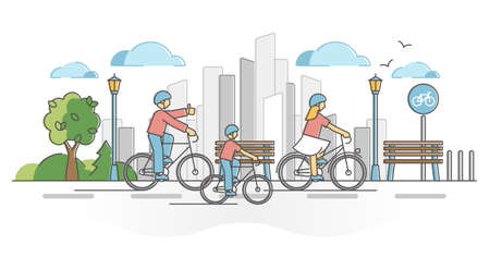 City cycling activity as urban active transportation ride outline concept. Bike family on road in town with bicycle lanes vector illustration. Infrastructure for sport activities and fun leisure scene Vectores