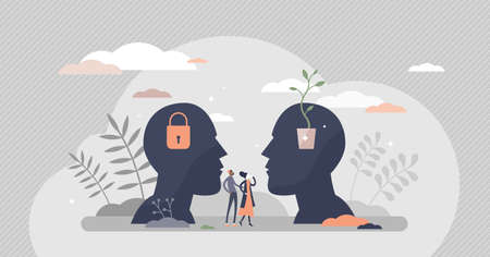 Fixed vs growth mindset with open or locked personality tiny person concept. Compared psychological types in symbolic visualization with creative and development oriented versus conservative model.
