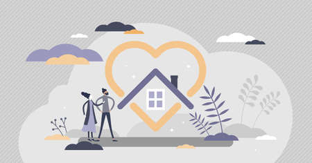 Home love as protected or safe house and cosy feeling tiny person concept. Real estate with emotional attraction or nostalgic residence vector illustration. Symbolic insurance visualization with heart Vectores