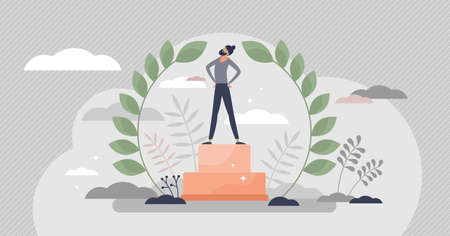 Champion as successful business leader with winners pride tiny persons concept. Professional leadership achievement and best boss cup vector illustration. Bay leaf crown for businessman champ scene. Vectores