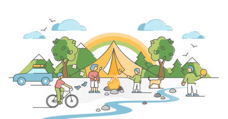 Camping family with kids outdoors with fireplace and shelter outline concept. Parents quality time together with children in nature with tents, sport activities and picnic vector illustration scene. Vectores