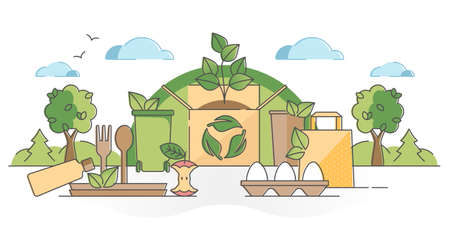 Biodegradable food packaging from recyclable eco resources outline concept. Garbage material from sustainable pollution free products vector illustration. Disposal remains as biological bio compost. Vectores