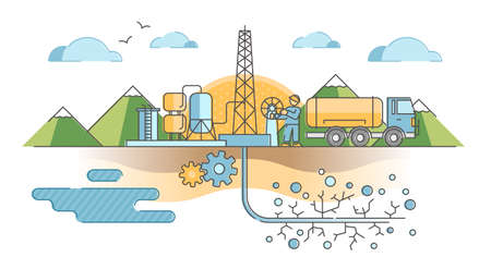 Hydraulic fracturing as oil and gas extraction technique outline concept. Underground pipe drilling with water pressure method to open cracks in terrain, ground, soil and rocks vector illustration.
