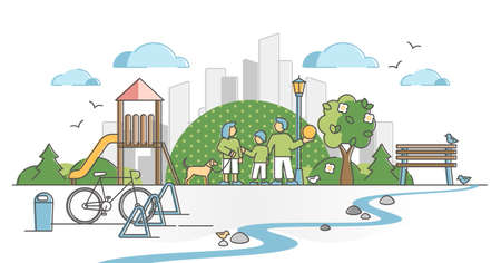 Urban park with city green zone for family nature recreation outline concept. Public place for dogs and kids in fresh air and garden area vector illustration. Nature friendly location with benches. Vectores
