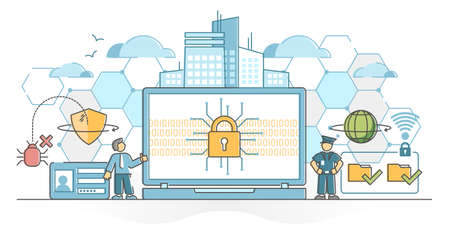 Cyber security as digital data protection and safe defense outline concept. User information privacy encryption with antivirus software vector illustration. Computer files secured with password lock.