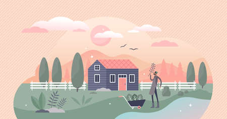 Homesteading as local agriculture and self sufficient food lifestyle tiny persons concept. Farming in garden to grow your own vegetables and products vector illustration. Countryside landscape scene.