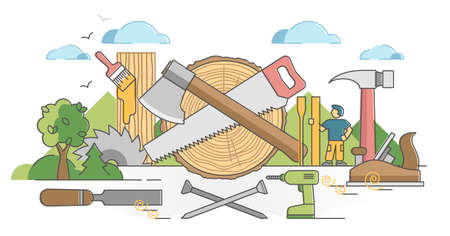 Woodworking process and carpentry craftsman occupation scene outline concept. Professional wood material instruments and equipment vector illustration. Planer, chisel and nails for making handicrafts.