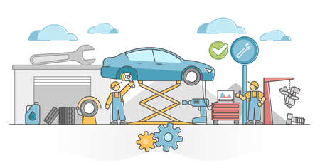 Car service work for vehicles mechanic maintenance and fix outline concept. Annual automobile check in garage with tire, oil change and engine computer inspection vector illustration. Occupation scene Vectores