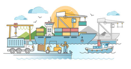 Commercial port harbor dock with container ship unloading outline concept. Industrial water transportation and trade logistics vector illustration. Freight terminal with export distribution tankers.