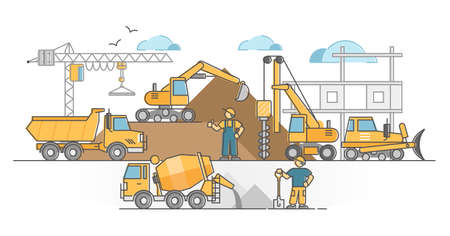 Heavy machinery as construction site duty executing vehicle outline concept. Work with excavator, crane, bulldozer, forklift and concrete mixing operating vector illustration. Industrial project scene