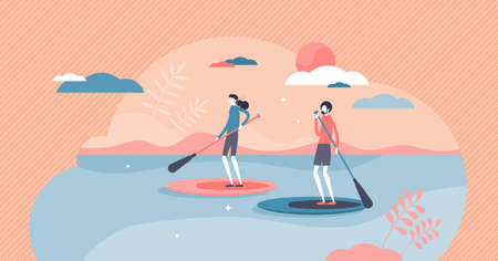 Suping or standing paddleboarding water sport adventure tiny person concept. Outdoor SUP rowing with oars in river, lake or sea vector illustration. Active couple leisure with hobby in nature scene.
