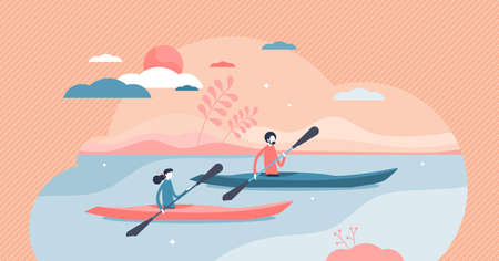 Kayaking water sport outdoor adventure with canoe boat tiny persons concept. Rowing activity in summer travel in sea or river vector illustration. Wild tourism expedition lifestyle with paddles scene.