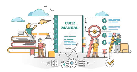 User Manual guide as information help support for user outline concept. Instruction booklet with advice and knowledge about product usage or construction vector illustration. Maintenance documentation