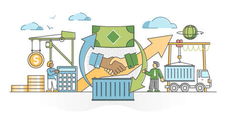 Trade global business market with sales and cargo shipping outline concept. Export and import purchases as economical process with money and goods exchange vector illustration. Commerce trading scene.