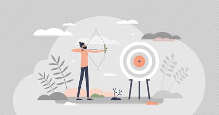 Archery as aim arrows accuracy sport and target reaching tiny person concept. Business precision as leader goal achievement vector illustration. Longbow performance and professional athlete training.