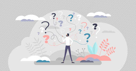 Business decision making doubt about options confusion tiny person concept. Choice about company work strategy vector illustration. Decide right solution directions for questions dilemma situations. Vectores