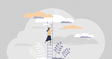 Growth ladder with stair steps as development progress tiny persons concept. Business and career rise symbol as opportunity to achieve target vector illustration. Climbing to top for challenge goal.
