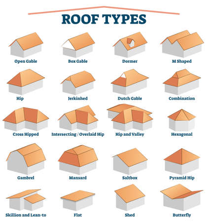 Roof types labeled titles collection set with 3D examples for house building. House construction exterior shapes with educational and explanation shapes vector illustration. Architecture study handout