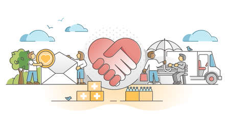 Charity support as social solidarity and help gifts donation outline concept. Philanthropy and volunteer assistance with money, medicine and food vector illustration. Contribution and sponsor scene.