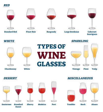 Types of wine glasses banner with educational labeled classification and example collection vector illustration. Information about red, white, sparkling, dessert and miscellaneous wineglass usage.