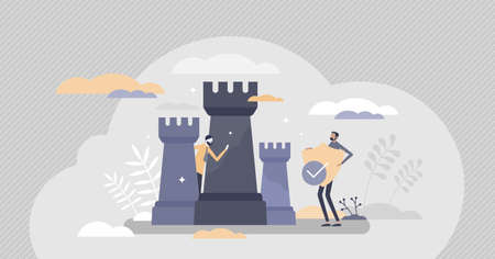 Cyber defense symbolic guard shield and data protection tiny person concept. Abstract chess figures figuratively scene as online security system and privacy information storage vector illustration. 일러스트