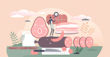 Meat production with animal food products and butcher tiny person concept. Kitchen with pork bacon and cattle sausages for gastronomy meals vector illustration. Raw preparation for tasty cuisine scene