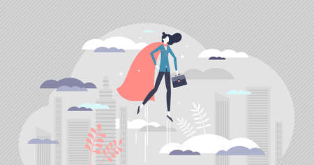 Business woman superhero as powerful female leader job tiny person concept. Strength and confidence in symbolic leadership vector illustration. Professional career achievement or personal growth scene Vettoriali