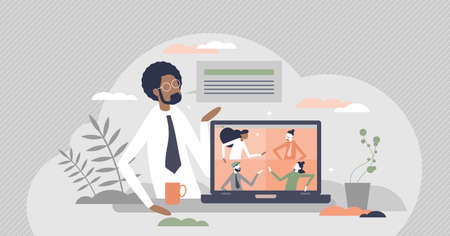 Meeting videocall as distant online communication talk tiny person concept. Speech appointment gathering for company formal topic conversation vector illustration. Colleagues work discussion scene.