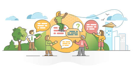 Conversation as dialog talk or discussion speaking process outline concept. Socialization and communication scene with speech message symbolic dialogue bubble vector illustration. Information transfer Ilustração