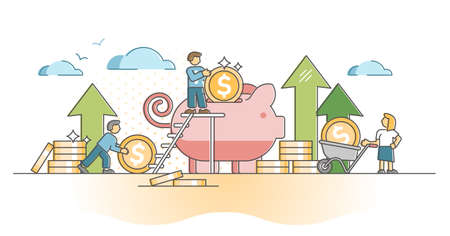 Money savings as financial cash stack deposit in piggy bank outline concept. Economical backup preservation with earnings and income vector illustration. Finance stability method and strategy scene.