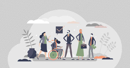 HR Diversity as various recruitment candidates queue tiny persons concept. Human resources hiring diversity with multicultural, race and gender equal employment opportunities scene vector illustration