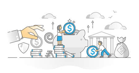 Money savings in bank account as deposit and accumulation monocolor outline concept. Wealth and income protection strategy for backup finance preservation vector illustration. Economical safety scene.
