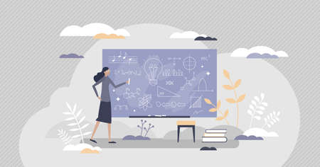Chalkboard or blackboard with teacher writing scribble as explanation notes tiny person concept. School lesson education and knowledge process with math, physics or music learning vector illustration.