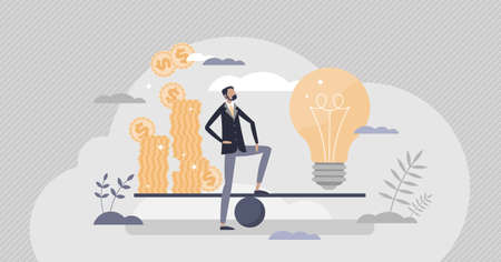 Money idea as new financial innovation price evaluation tiny person concept. Creative solution comparison from economical aspect vector illustration. Investment and startup valuation presentation.