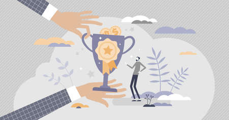 HR employee rewards with money bonus for good results tiny person concept. Motivation and inspirational appreciation for employee of month vector illustration. Success award as job financial benefits.  イラスト・ベクター素材