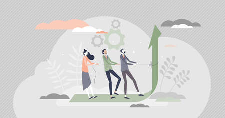 Teamwork performance effort for reaching best results tiny person concept. Pushing limits for huge progress development vector illustration. Collaboration and assistance strength power visualization. Ilustración de vector