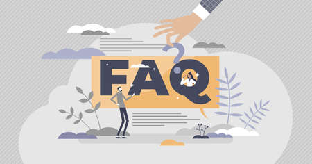 FAQ as frequently asked questions with solution answers tiny person concept. Advice support for customer assistance webpage information banner vector illustration. Problem solving hints and help sign