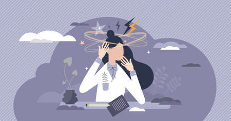 Stress overload female as frustration and tension emotion tiny person concept. Psychological feeling with dizzy head from too much intense work duties vector illustration. Breakdown in workplace scene