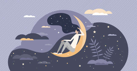 Good sleep at night moon with deep, sweet and healthy dreams tiny person concept. Sky with stars as calm and restful bedtime symbol vector illustration. Relaxing fantasy in comfortable REM state scene