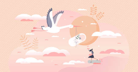 Pregnancy as newborn baby expectation and stork delivery tiny person concept. Woman labor symbolic scene with new loving mother and child vector illustration. Healthy female gynecology process scene.